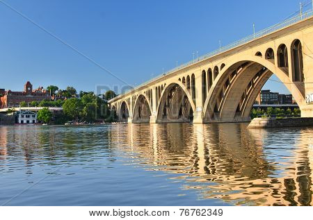 Washington DC - Key Bridge and reflection over Potomac River