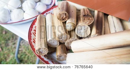 thailand traditional dessert called glutinous rice roasted in bamboo joints poster