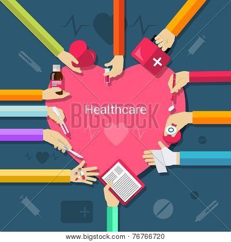 Healthcare flat concept