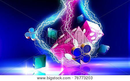 Lightning on casino purple gambling dice