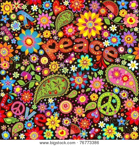 Wallpaper with hippie symbolic. Raster copy