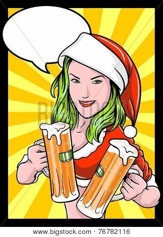 Christmas Beer Girl Comics