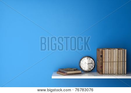 Old books and clock on a shelf in front of a blue wall (3D Rendering)