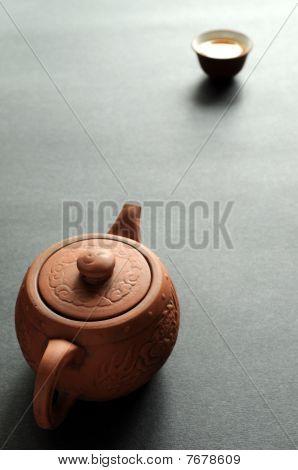 Clay teapot and teacup