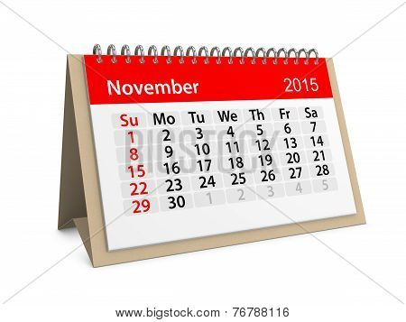 Monthly Calendar For Year 2015. November