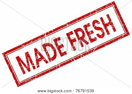 Made Fresh Red Square Stamp Isolated On White Background