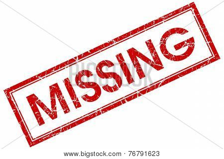 Missing Red Square Stamp Isolated On White Background
