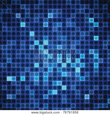Abstract Background Of Blue Rectangles And Circles
