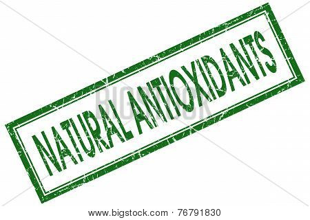 Natural Antioxidants Green Square Stamp Isolated On White Background