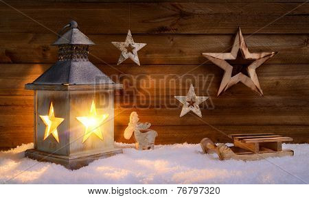 Christmas Scene In Warm Lantern Light