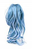 Wig of long blue hair isolated on white poster