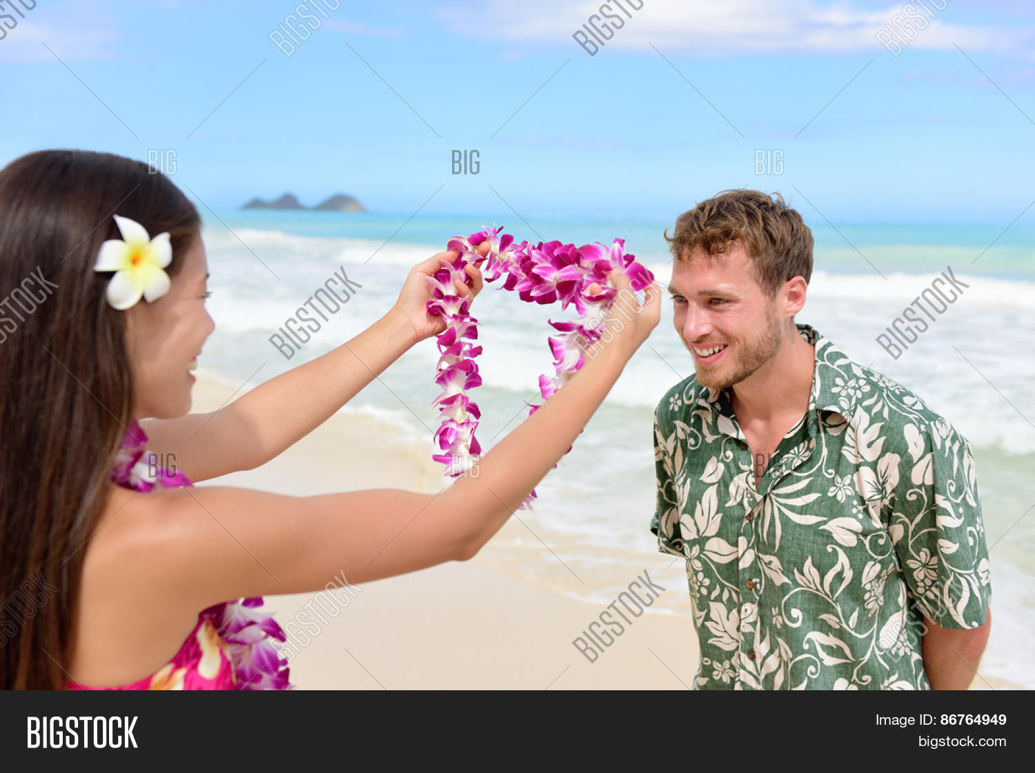 Hawaii woman giving image photo free trial bigstock hawaii woman giving lei garland of pink orchids welcoming tourist on hawaiian beach portrait of izmirmasajfo