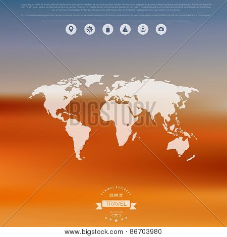Blurred landscape background. Travel concept with eart map. Mobile or web ui element. Web site heade