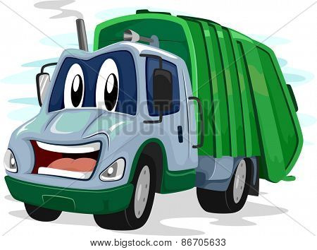 Mascot Illustration of a Garbage Truck Flashing an Awkward Smile
