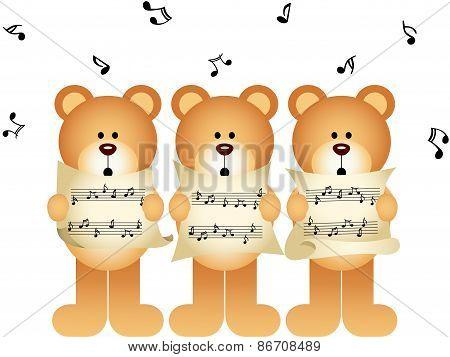 Three teddy bears choir singing