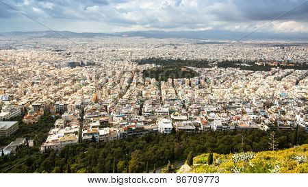 ATHENS, GREECE - MAR 28, 2015: Panorama of Athens from Lycabettus. Lycabettus also known as Lycabettos or Lykabettos - a mountain in central Athens, the height of 277 meters above sea level.
