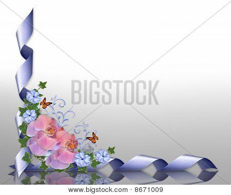 Wedding invitation border orchids