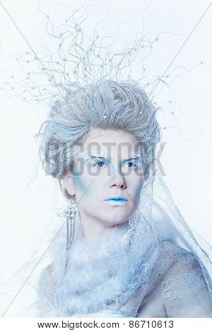 Snow Queen With Unusual Makeup