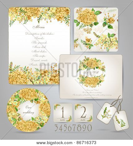 Set Of Templates For Celebration, Wedding. Yellow Flowers.