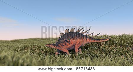 kentrosaurus walking in grass field
