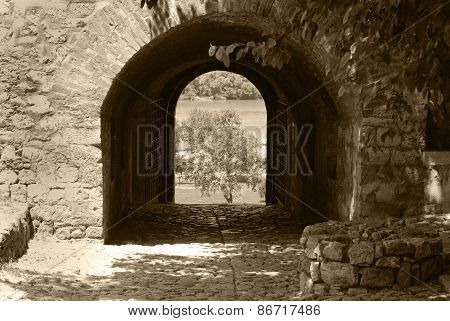 Entrance To Fortress. An Arch In A Fortification Wall.
