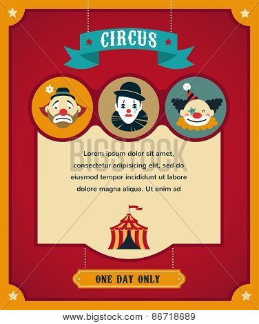 vintage hipster circus poster, background with carnival, fun fair, and vector icons