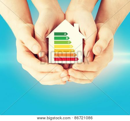 energy saving, real estate and family home concept - closeup of couple hands holding white paper house with energy efficiency rating poster