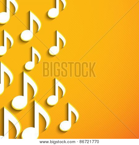 Musical notes on shiny yellow background.