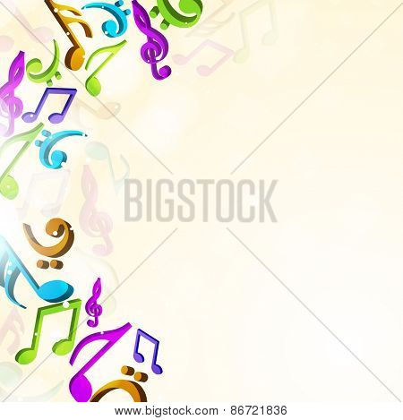 Colorful musical notes on stylish beige background.