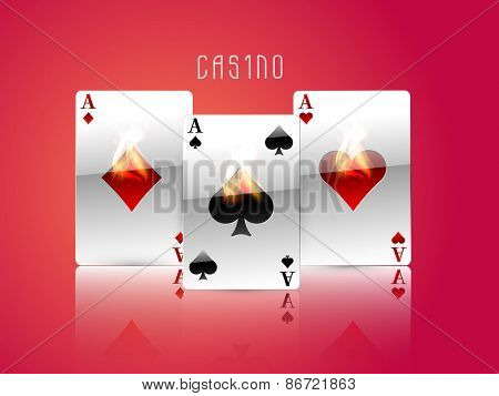 Shiny ace cards with flame on glossy red background for casino concept.