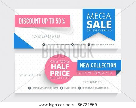 Mega Sale with half price special offer on new collection, creative website header or banner set with place holder.