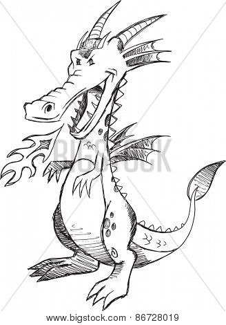 Doodle Sketch Dragon Vector Illustration Art