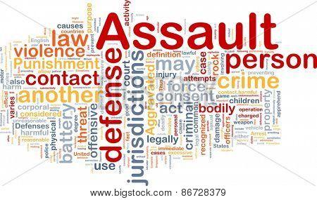 Background concept wordcloud of assault crime