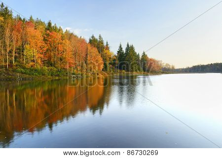Vivid Colors of Fall Trees Reflecting in Lake