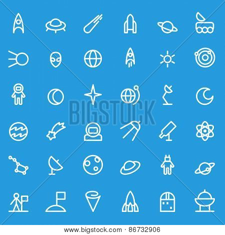 Space icons, simple and thin line design