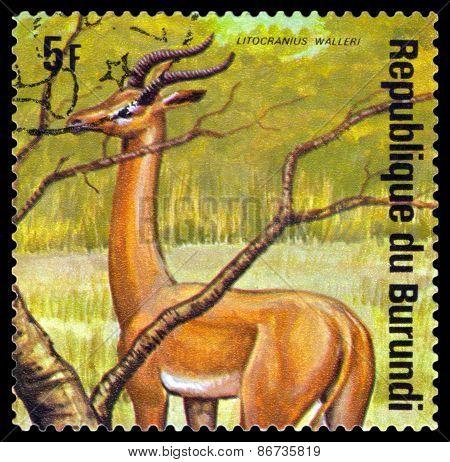 Vintage  Postage Stamp. Gerenuk. Animals Burundi.