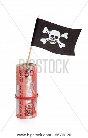 Pirate Flag And Dollar