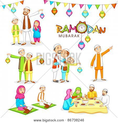 Celebrations for Islamic holy month of prayers, Ramadan Mubarak with Religious Muslim people in various activities to follow the rituals.