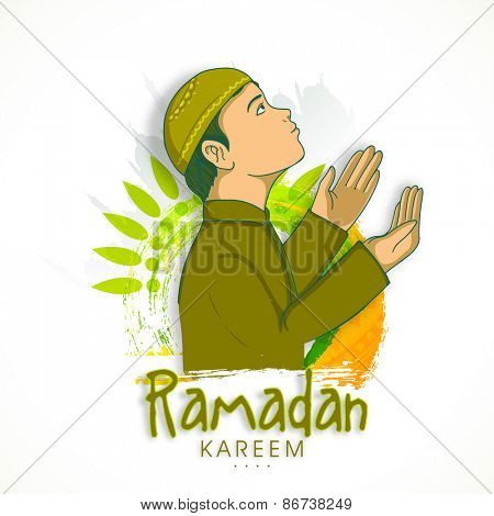 Religious Muslim boy, reading Namaz (Namaz, Muslim prayer) on floral decorated background for Islamic holy month of prayers, Ramadan Kareem.