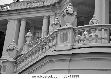 Fragment of Katalnaya gorka pavilion in Oranienbaum outskirts of St. Petersburg Russia. Black and white. poster