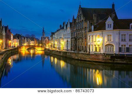 Jan Van Eyck Square and Canal Spiegel in Bruges, Belgium