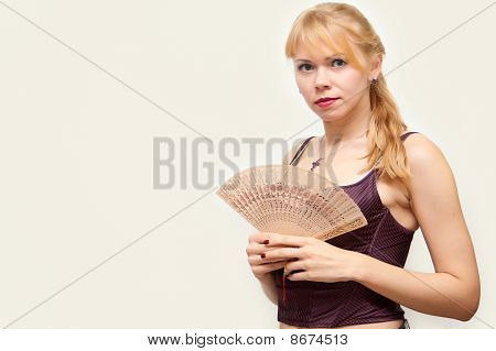 Constraining Girl With A Fan