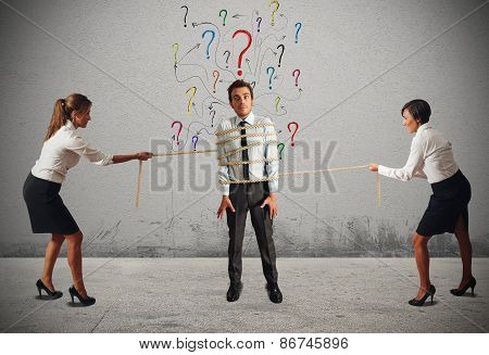 Business women fighting over the boss attention poster
