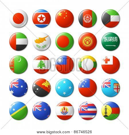 World flags round badges. Asia and Oceania. Vector illustration.