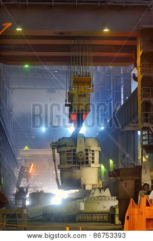 Liquid iron in the ladle in metallurgy factory poster
