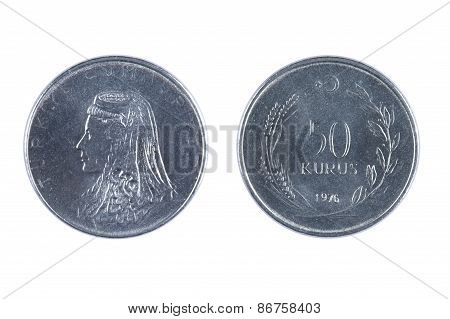 Turkey Kurus Coin On White