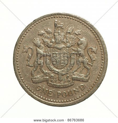 Pound coin - 1 Pound currency of the United Kingdom isolated over white background poster