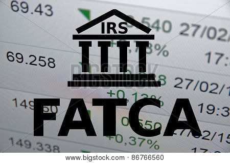 (FATCA) Foreign Account Tax Compliance Act. Concept with building icon. poster