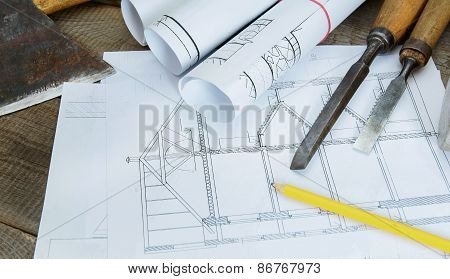 Joiner's works. Drawings for building and working tools on wooden background.