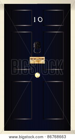 The front door od number ten downing streat the home of the British Prime Minister poster
